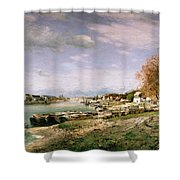 The Old Quay At Bercy Shower Curtain by Jean Baptiste Armand Guillaumin