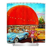 The Orange Julep Montreal Shower Curtain by Carole Spandau