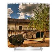 The Padre's Backyard Shower Curtain by Mick Burkey