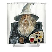 The Painting Wizard Shower Curtain by J W Baker