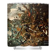The Parliament Of Birds Shower Curtain by Carl Wilhelm de Hamilton