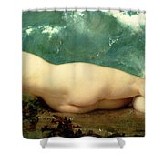 The Pearl And The Wave Shower Curtain by Paul Baudry