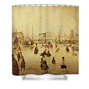 The Pleasures Of Winter Shower Curtain by Hendrik Avercamp
