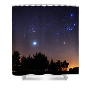 The Pleiades, Taurus And Orion Shower Curtain by Luis Argerich