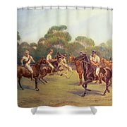 The Polo Match Shower Curtain by C M  Gonne