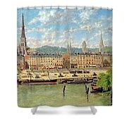 The Port At Rouen Shower Curtain by Torello Ancillotti