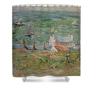 The Port Of Gorey On Jersey Shower Curtain by Berthe Morisot