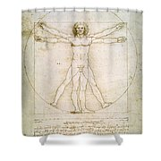 The Proportions Of The Human Figure  Shower Curtain by Leonardo Da Vinci