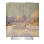 The Pyramids At Dusk Shower Curtain by Augustus Osborne Lamplough