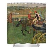The Race Course Shower Curtain by Edgar Degas