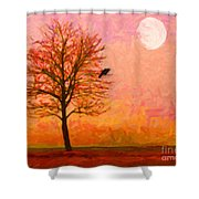 The Raven and The Moon Shower Curtain by Wingsdomain Art and Photography