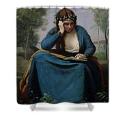 The Reader Crowned With Flowers Shower Curtain by Jean Baptiste Camille Corot