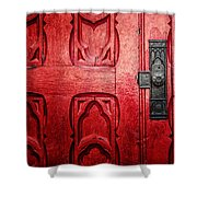 The Red Church Door Shower Curtain by Lisa Russo