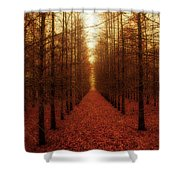 The Red Forest Shower Curtain by Amy Tyler