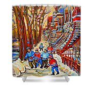 The Red Staircase Painting By Montreal Streetscene Artist Carole Spandau Shower Curtain by Carole Spandau