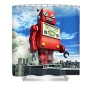 The Red Tin Robot And The City Shower Curtain by Luca Oleastri