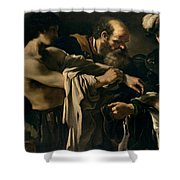 The Return of the Prodigal Son Shower Curtain by Giovanni Francesco Barbieri