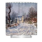 The Road to Giverny in Winter Shower Curtain by Claude Monet