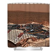 The Rovers Landing Site, The Columbia Shower Curtain by Stocktrek Images