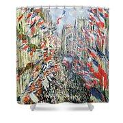 The Rue Montorgueil Shower Curtain by Claude Monet
