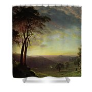 The Sacramento River Valley  Shower Curtain by Albert Bierstadt