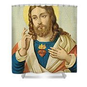 The Sacred Heart Shower Curtain by French School