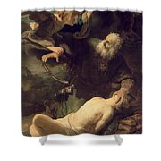 The Sacrifice Of Abraham Shower Curtain by Rembrandt