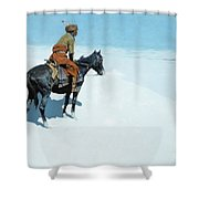 The Scout Friends or Foes Shower Curtain by Frederic Remington