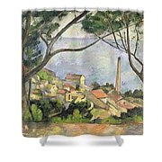 The Sea At L Estaque Shower Curtain by Paul Cezanne