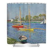 The Seine At Argenteuil Shower Curtain by Gustave Caillebotte