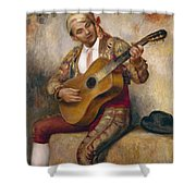 The Spanish Guitarist Shower Curtain by Pierre Auguste Renoir