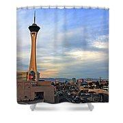 The Stratosphere in Las Vegas Shower Curtain by Susanne Van Hulst