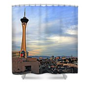 The Stratosphere In Las Vegas Shower Curtain by Susanne Van Hulst