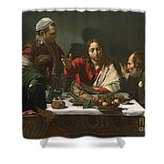 The Supper At Emmaus Shower Curtain by Caravaggio