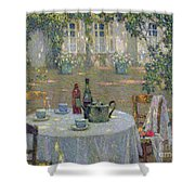 The Table in the Sun in the Garden Shower Curtain by Henri Le Sidaner