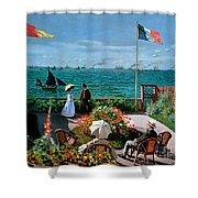 The Terrace at Sainte Adresse Shower Curtain by Claude Monet