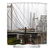 The Two Carquinez Bridges At Crockett And Vallejo California . Aka Alfred Zampa Memorial Bridge . 7d8919 Shower Curtain by Wingsdomain Art and Photography