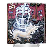 The Unicorn And Garden Shower Curtain by Genevieve Esson