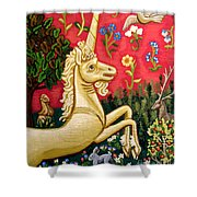 The Unicorn Shower Curtain by Genevieve Esson