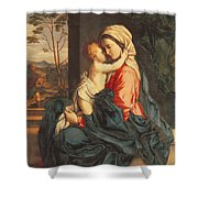 The Virgin and Child Embracing Shower Curtain by Giovanni Battista Salvi