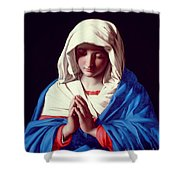 The Virgin In Prayer Shower Curtain by Il Sassoferrato