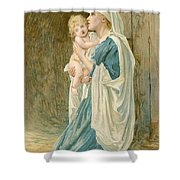 The Virgin Mary With Jesus Shower Curtain by John Lawson