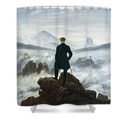 The Wanderer Above The Sea Of Fog Shower Curtain by Caspar David Friedrich