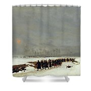 The War Of 1870 An Infantry Column On Their Way To A Raid Shower Curtain by Jean-Baptiste Edouard Detaille