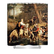 The Wedding Trek Shower Curtain by Adolphe Tidemand