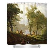 The Wolf River - Kansas Shower Curtain by Albert Bierstadt