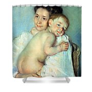 The Young Mother Shower Curtain by Mary Stevenson Cassatt