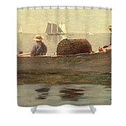 Three Boys in a Dory Shower Curtain by Winslow Homer