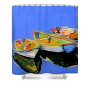 Three Colourful Boats Shower Curtain by Sue Gardner