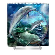 Three Dolphins Shower Curtain by Carol Cavalaris